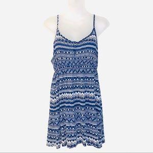 H&M Aztec Print Sleeveless Dress Size 12 Blue